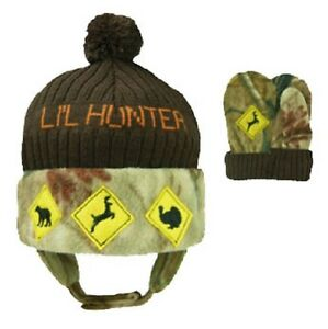 Lil Little Hunter Realtree Camo Hat & Mittens, Toddler Baby Boy's Hot Shot