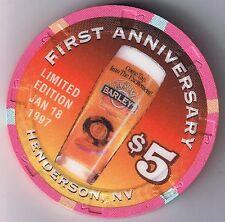 Barley's Brewing Co. 1st Ann Beer $5.00 Casino Chip Henderson Nevada 1/18/1997