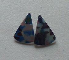 Wedge Iridescent Blue Earrings Fused Art Glass Translucent Pie