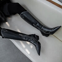 Womens Cowboy Leather Casual Knee High Rding Boots Pointy Toe Punk Chunky Heel
