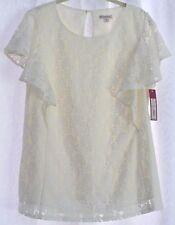 Merona, NWT, Lace, Ivory, Blouse, Short Sleeves, Size XL, White