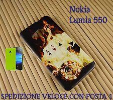 Cover case custodia gel in gomma silicone x Nokia Lumia 550 POKER D'ASSI FUOC