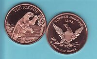 Giant Short Faced Bear 1oz The Ice Age Pure Copper Bullion Round!!