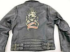 HARLEY DAVIDSON BLAZING BONES FLAMING SKULL MEN LEATHER MOTORCYCLE JACKET LARGE