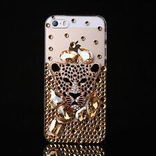 Jewelled Rhinestone Bling Crystal Gold Diamond leopard Soft TPU Gel Phone Case