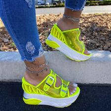 Летние ПВХ Клин тапочки женские прозрачные пряжка супер сандалии на высоком каблуке