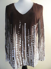 Nygard Collection Beige Brown Knitt Small Beads V-Neck Top Pullover sz M NWOT