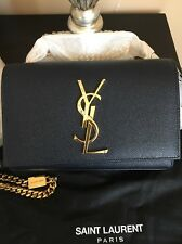 YSL Monogram Monogram Small Leather Chain Bag Deep Marine