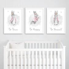 Pink Peter Rabbit Nursery Prints Set Grey Childrens Bedroom Pictures Decor Girl
