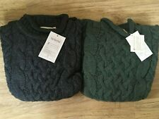 Traditional 100% Wool Aran Roll Curl Neck Jumper Cable Knit Made in England