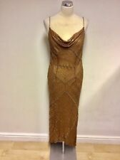 MONSOON BRONZE BEADED & SEQUINED SILK STRAPPY EVENING DRESS SIZE 14