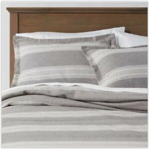 King Chambray Yarn Dye Stripe Duvet and Sham Set - Radiant Gray by Threshold