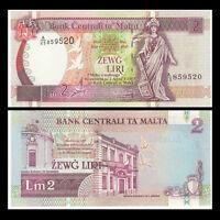 Malta 2 Liri, 1967 (1994), P-45, original banknote, UNC