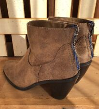 Mossimo Ankle Boots Booties Distressed Back Zip Tan/Light Brown/Caramel Size 11
