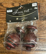 Cambria Classic Wood Urn Finial - Set of 2 - Aged Cherry