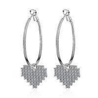 Women Party 925 Sterling Silver Austrian Crystal Love Heart Dangle Hoop Earrings