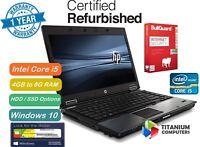 "HP Elitebook 8440p 14"" Core i5 2.4GHz 8GB Ram, 1TB HDD, SSD Options Windows 10"