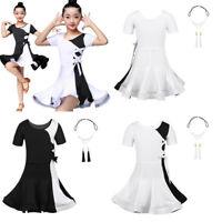 Black White Girl Latin Salsa Dance Dress Kid Ballroom Tutu Skirt Dancing Costume