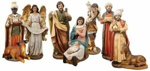 "Christmas Traditional Nativity Set Christmas Ornament 10 Figures Hand Painted 6"""