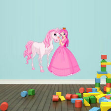 Full Color Wall Vinyl Sticker Decals Pink Princess Unicorn Horse (Col736)