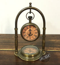 Vintage Marine Antique Brass Desk Clock With Compass Home Decor Victorian D