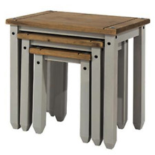 Premium Corona Solid Pine Grey Washed Nest of Three Occasional Tables