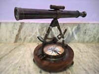 ALIDADE TELESCOPE ANTIQUE WITH COMPASS NAUTICAL BRASS MARINE COLLECTIBLE