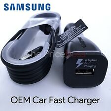 New OEM Samsung Galaxy Note 4 S4 S6 Edge Fast Rapid Car Charger BLACK w/ Cable