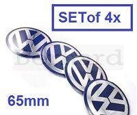 SET of 4x 65mm Blue VW Wheel Hub Cap Badge Emblem Stickers Golf Polo Bora Passat