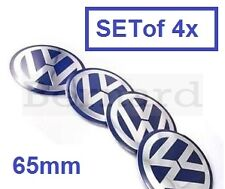 SET of 4x 65mm Blue VW Wheel Hub Cap Badge Emblem Stickers Golf Polo Bora Passat