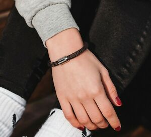 Wind Passion Braided Rope Bracelet with Stainless Steel Magnetic Clasp Unisex