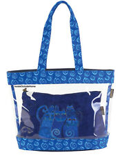 Laurel Burch Indigo Cats LARGE Clear Travel Tote + Med CrossBody Bag 2pc SET New