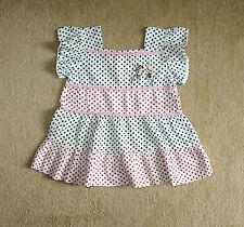 Vintage Gorgeous White Black/Red Polka Dots Summer Dress/Tunic/Top 12-18-24 mns