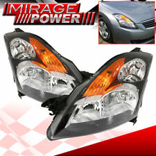 For 2007-2009 Nissan Altima Black Housing Amber Clear Lens Headlights Left/Right