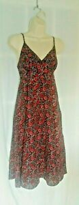 Monsoon Womens empire Line Tea Dress Size 8 Strappy Dark Red floral New
