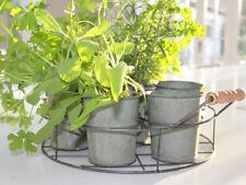 Silver Round Chic Portable Mini Herb Kitchen Garden portait verdigree x7 pot portait