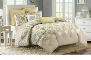 Madison Park Comforter Set Yellow 7 Piece Bedding Full/Queen Size