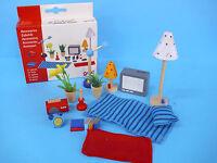 Puppenhaus-Möbel Zubehör-Set 17tlg Wohnzimmer Schlafzimmer +BONUS NEU+OVP