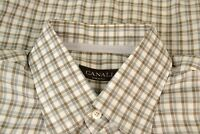 Canali Brown Plaid Brown Label 100% Cotton Button Up Shirt Sz L