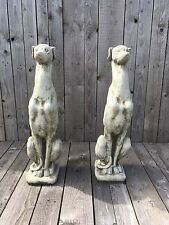 Whippet  Greyhound Pair of English Stoneware Grey Hounds / whippets sitting dogs