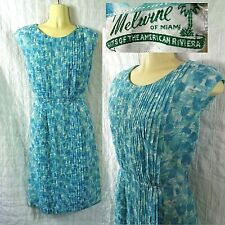 50s 60s Vintage Melwine of Miami Sleeveless Blue White Summer Dress Sz 10 or M