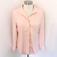 Orvis 12 Shirt Button Down Pink 100% Silk Long Sleeve Womens Heavy Blouse Career