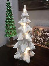 "STUNNING! Holiday White Iridescent LIGHTED Christmas Tree Tabletop Decor 14"""