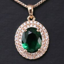 Green Oval Emerald Diamond Halo Pendant Chain Necklace 14K Yellow Gold
