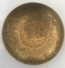 "Vintage Antique Brass Dragon Hand Engraved Design Plate Bowl 9"" China It/284"