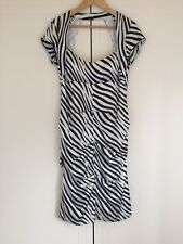 SIMONA zebra print silk elastane ruched women's evening dress sz 12