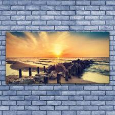 Acrylglasbilder Wandbilder Druck 140x70 Strand Steine Meer Landschaft