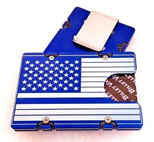 Blue Line Flag, Aluminum Credit Card Holder, RFID protection, Blue anodized