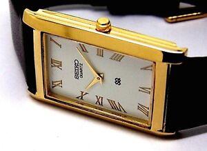 seiko quartz super slim men white dial japan made watch run order