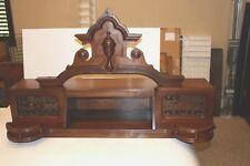Antique Victorian Walnut Mantle Salvage Shelve Pediment Scroll Panels Gallery